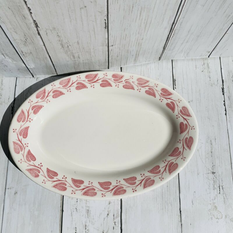 "Vintage Red & White Floral Leaves  11 1/2"" Buffalo China Restaurant Platter"