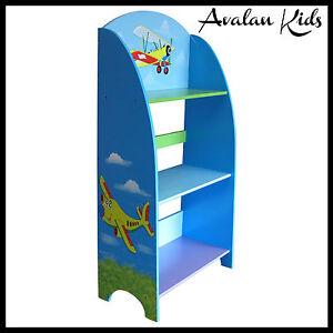 BOYS-BOOKCASE-KIDS-BOOKSHELF-PLANE-BLUE-ORGANISER-STORAGE-AVALAN-KIDS