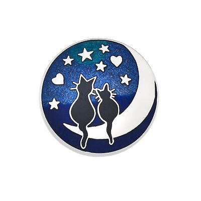 Black Cats on the Moon Brooch Silver Plated Brand New Gift Packaging