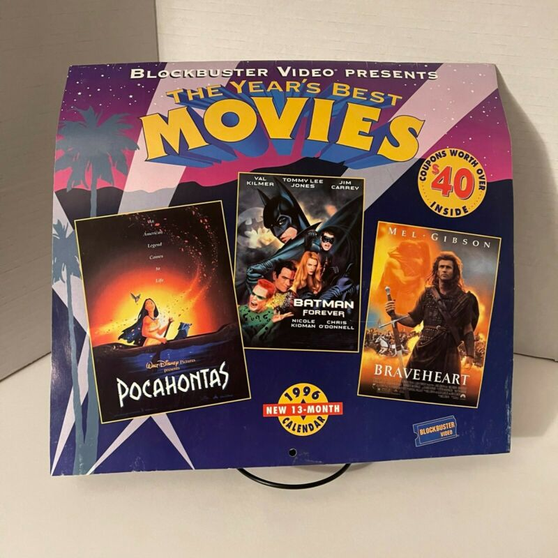 Vintage Blockbuster Video Calendar - Blockbuster / Hollywood Movies1996