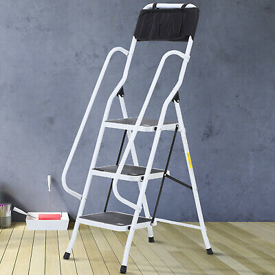 Folding 3 Step Stool Ladder With Safety Rails And Tool Bag Holder Steel