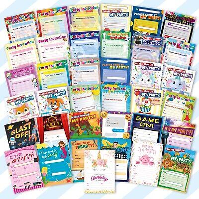 20x Childrens Kids Birthday Party Invitations Invites Pack Pads Blank Boys Girls