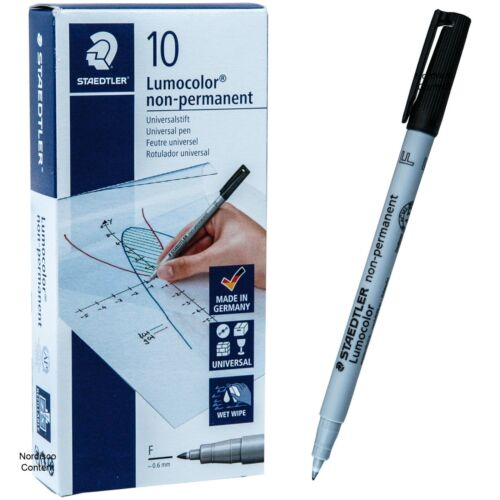Staedtler 316-9 Lumocolor Non-Permanent Markers, 0.6mm Fine Point, Box of 10