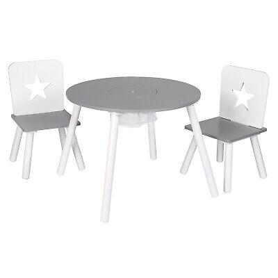 Kindersitzgruppe Tisch mit 2 Stühlen Stauraum Holz Kindermöbel Rund Weiß SG012