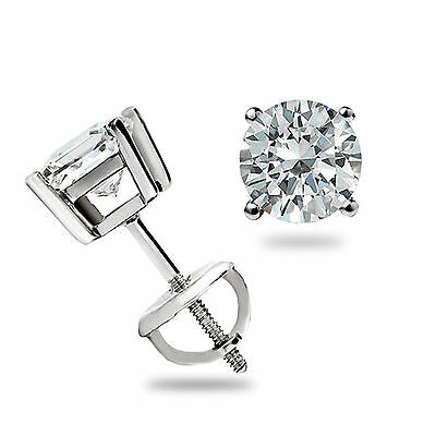 .55 Ct Round Cut Lab Diamond Stud Earrings 14k White Gold Basket Set Screw Back