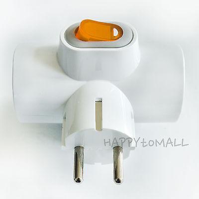 220V Multiple Power Outlet Strip Switch 3Tap Electric Plug Socket Adapter EU