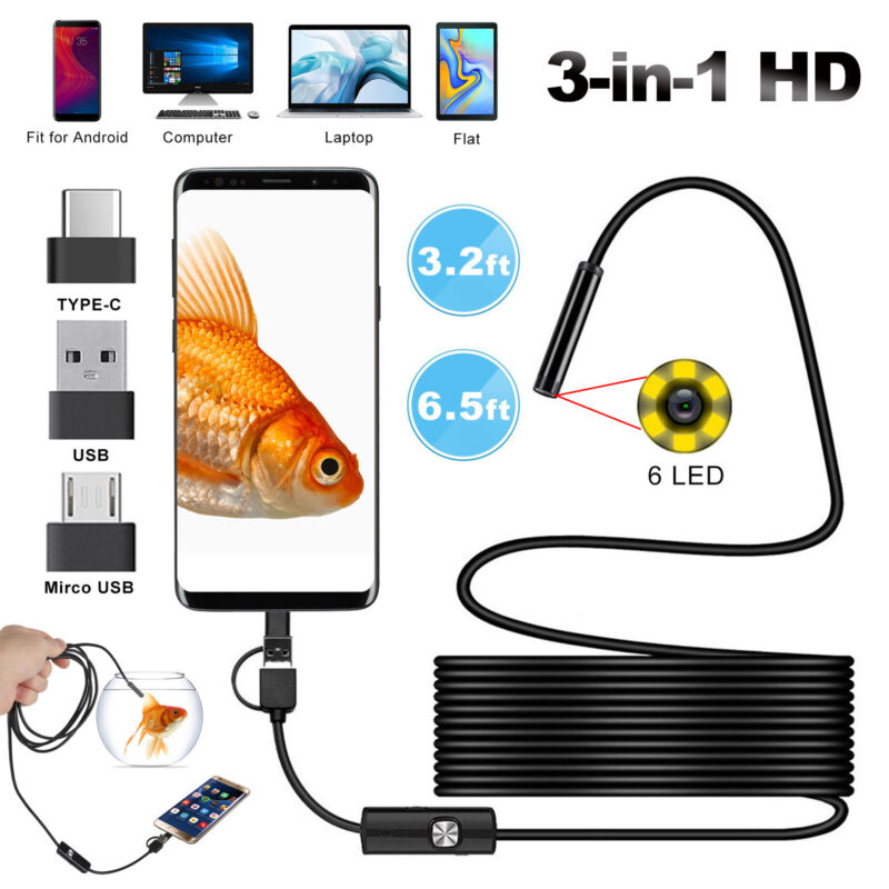 2M 6LEDs Borescope Endoscope Snake Inspection USB Camera Scope 5.5mm for Android
