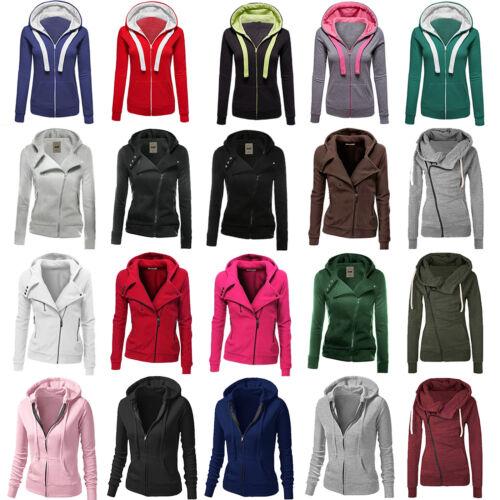 Women's Plain Zip Hoodie Sweatshirt Hooded Coat Jacket Jumpe