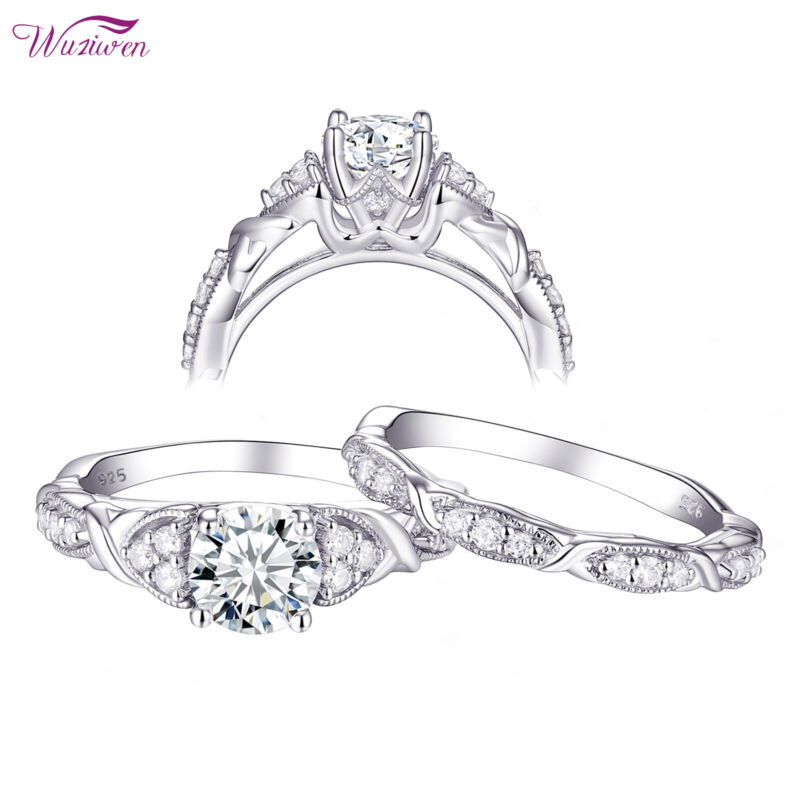 Wuziwen 1.5ct Round Cz 925 Sterling Silver Wedding Engagement Ring Set For Women