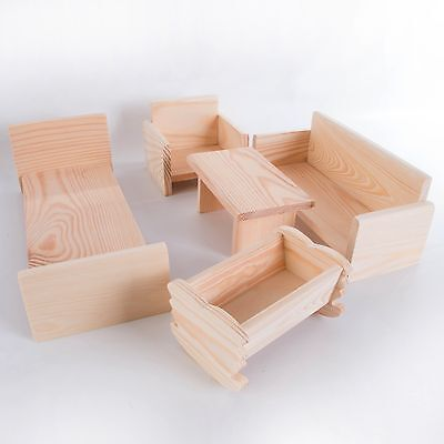 Wooden Dolls House Furniture /Plain Pinewood /Bed Cot Sofa Chair Table for Craft