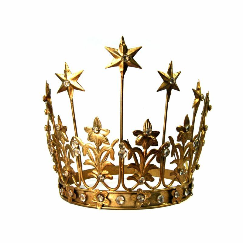 "XL Art Nouveau Santos Crown with Lilies Stars Rhinestones Antique Gold 6"" to 7"""