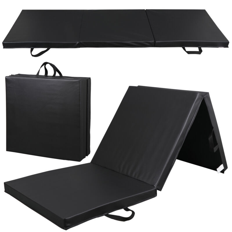 High-Density PU Leather Gym Mat Fitness Exercise Tri-Fold Tumbling Arts Workout