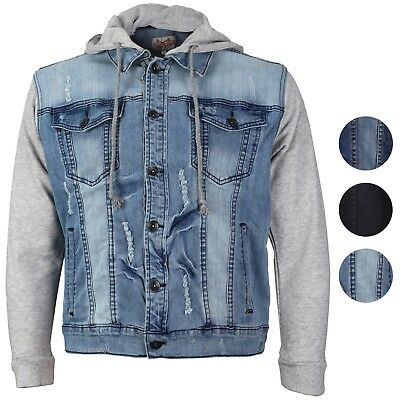 CS Men's Distressed Ripped Stretch Denim Jean Jacket with Removable Hood ()