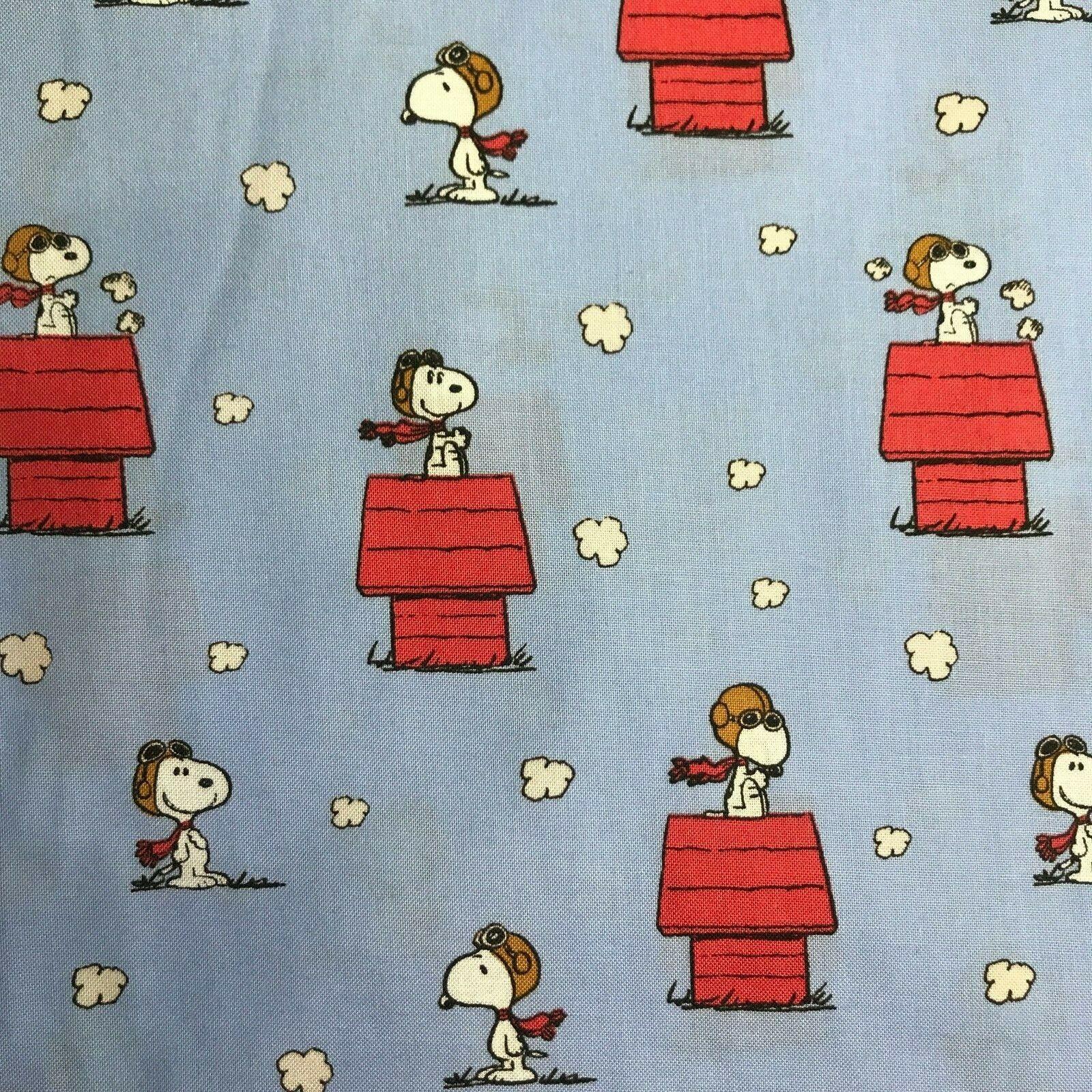 fabric snoopy vs red baron print christmas