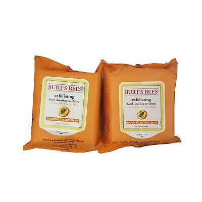 Burt's Bees Exfoliating Facial Cleansing Towelettes 25 Each Lot of 2 -