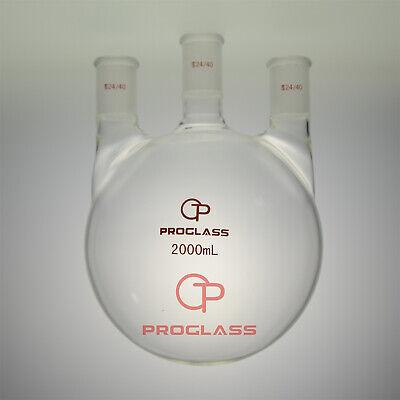 Proglass Three Staight Necks Round Bottom Flask 2000ml 2440hand Blowering