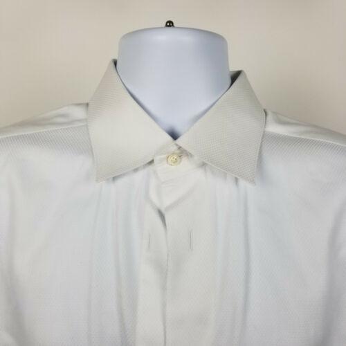 David Donahue Mens White French Cuff No Button Tuxedo Dress Shirt Size 17 34/35