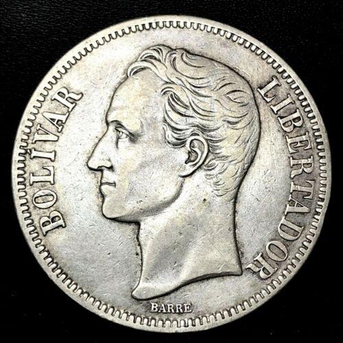 1921 VENEZUELA 5 BOLIVARES (25 GRAM) .900 Silver Crown Coin AU/MS Y#24.2 RARE.