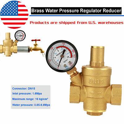 12 Water Pressure Regulator Lead-free Brass Reducer Gauge Water Valve Uas