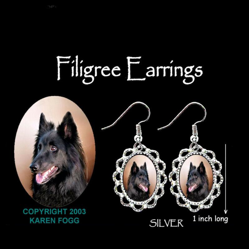 BELGIAN SHEEPDOG - SILVER  FILIGREE EARRINGS Jewelry