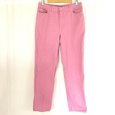 Lands End Womens Jeans Straight Leg Pink Size 14T Tall Cotton ()
