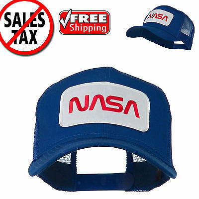 Mesh Back Trucker Baseball Cap (NASA Logo Embroidered Snapback Patched Mesh Back Baseball Cap Trucker Hat Blue)