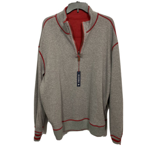 $110 CREMIEUX Mens Reversible Pullover Sweater 3XT 3XLT Red Grey Elbow Patches Clothing, Shoes & Accessories