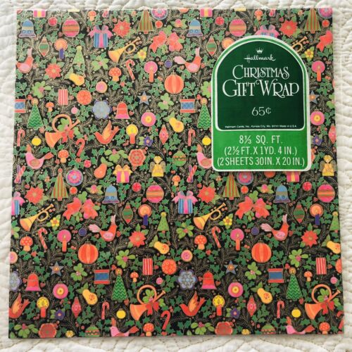VTG Hallmark Christmas Gift Wrap Wrapping Paper Poinsettia O