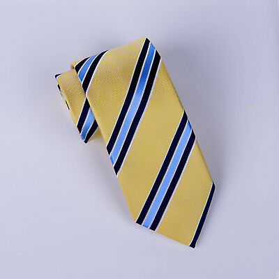 Blue Striped Tie Black Lining Yellow Regimental Stripe Necktie Designer - Necktie Black Striped Design