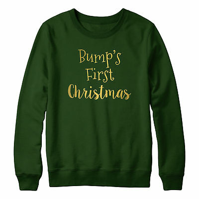 Bumps First Christmas Jumper Sweater Women Pregnant Lady GOLD Cute Maternity 162 ()