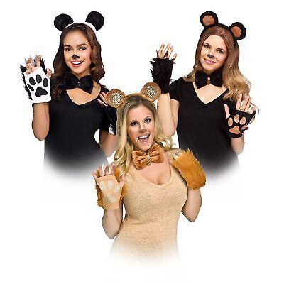 Panda Bear Halloween Costume (Adult Teddy Panda Black Forest Bear Halloween Costume Ears Paw Gloves Bow)