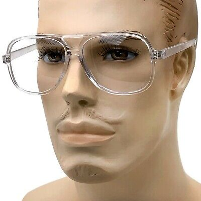 Retro Aviator Transparent Clear Frame Clear Lens Glasses Nerd Retro (Clear Plastic Frame Glasses)
