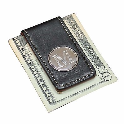 Personalized Engraved Money Clip with Black and Brown Leather