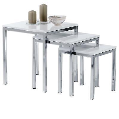 Dreisatztische 3 Satztisch Beistelltisch Tischset Tische chrom MDF weiss