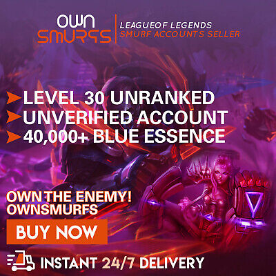 League of Legends Unranked Account EUW SMURF LoL 40,000 - 50,000 BE IP