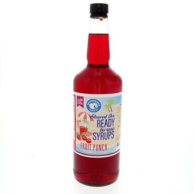 Snow Cone Syrup Or Hawaiian Shaved Ice Ready To Use Fruit Punch 32 Fl. Oz