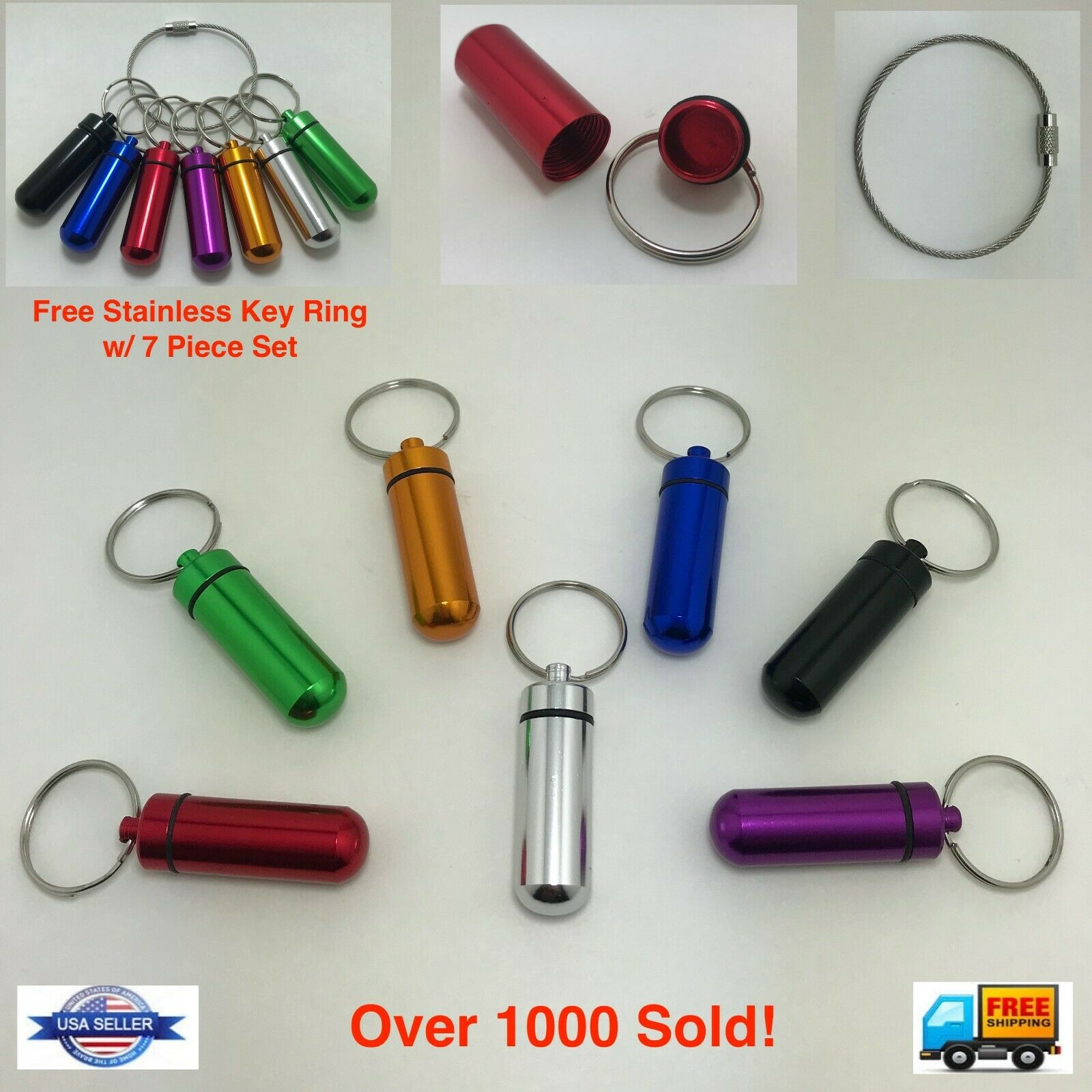 Waterproof Pill Box Keychain Aluminum Medicine Case Bottle D