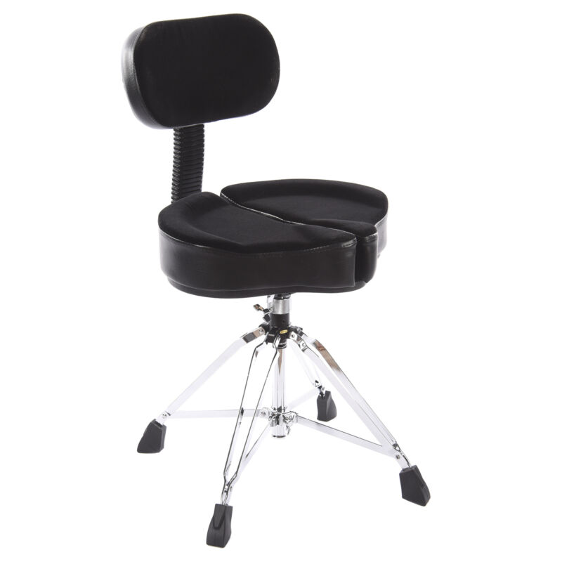 """Ahead Spinal G Saddle Drum Throne Black 4-Leg 18-24"""" Height w/Back Rest"""
