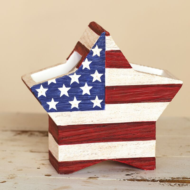 American Flag Star Shaped Toothbrush Holder - Patriotic Bathroom Accent