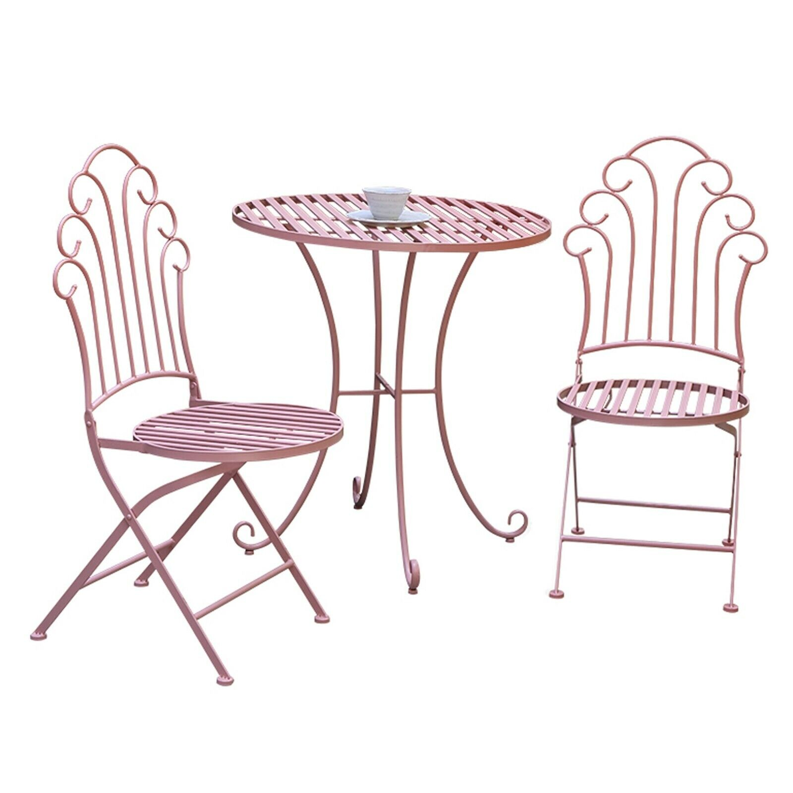 Garden Furniture - GlamHaus Metal Bistro Set Garden Patio Furniture Outdoor 3 Piece Table Chairs
