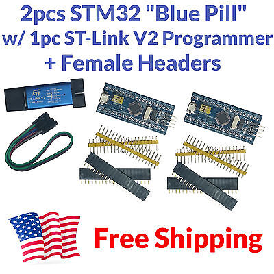 2pcs Stm32f103c8t6 Arm Stm32 Development Board Module Blue Pill St-link V2 Usa