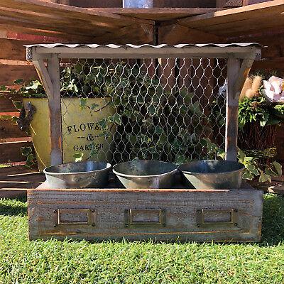 Vintage Garden Herb Plant Holder Wall Flower Display Planter Baskets Pots 34cm