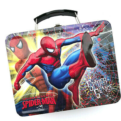 SPIDERMAN Spider-Sense Tin Lunch Box by Tin Box Co MARVEL 2009 Embossed Used