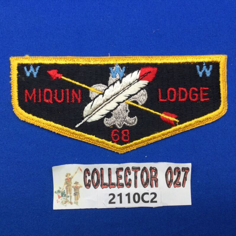 Boy Scout OA Miquin Lodge 68 S1a Order Of The Arrow Pocket Flap Patch NJ