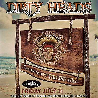 "DIRTY HEADS ""NEVER SAY DIE"" 2015 WICHITA CONCERT TOUR POSTER - Reggae Rock, Ska"