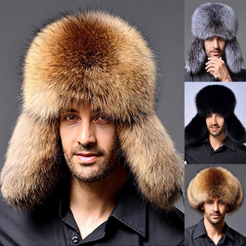 Dame Herren Winter Fuchspelz Fell Pelz Mütze Russenmütze Kappe Hüte Skimütze Ski