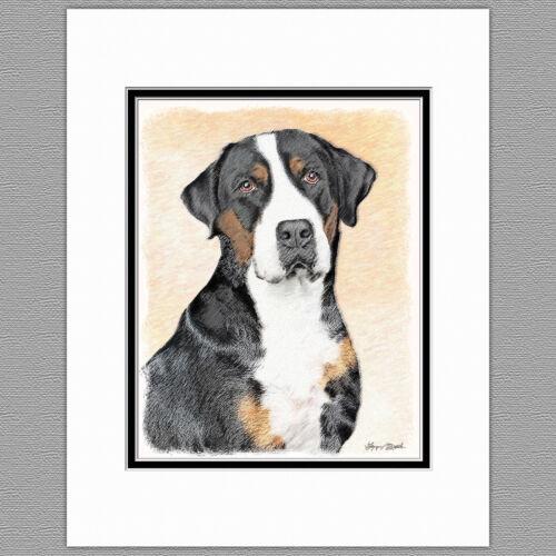 Greater Swiss Mountain Dog Original Art Print 8x10 Matted to 11x14