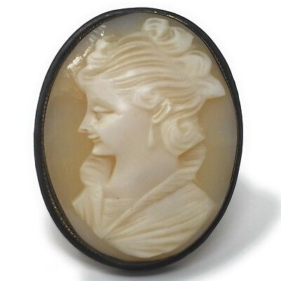 Cameo Brooch Pendant Carved Carnelian Shell Pin Vintage Signed Silver Italian Cameo Italian Pin Pendant
