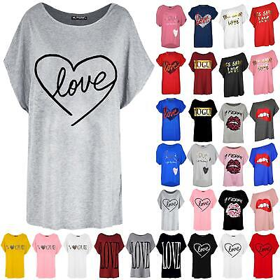 Ladies Womens Heart Love Printed Loose Fit Oversized Batwing Sleeve T-Shirt Top