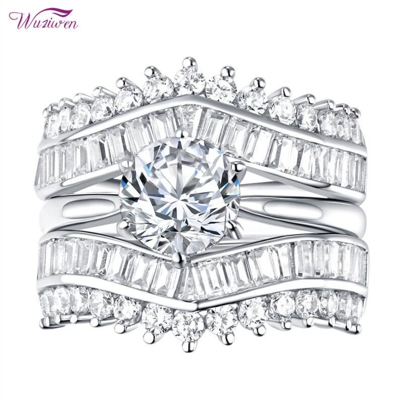 Wuziwen Wedding Ring Enhancers Engagement Ring Set Round Aaaa Cz Sterling Silver